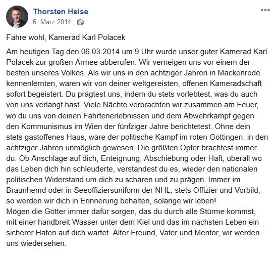 Heise zum Tode von Karl Polacek
